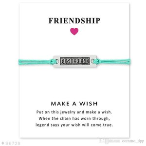 Best Friend charm Bracelets With Make a Wish Gift card For Women Men String Rope chain Bangle BFF friendship Fashion Jewelry in Bulk