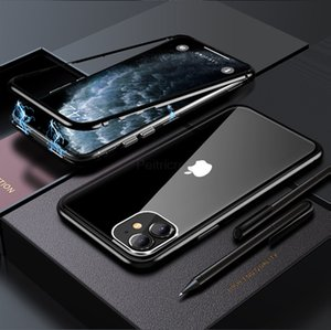 Dual Glasses Magnetic Adsorption Metal Phone Case for iPhone Xs Max XR X 8 Plus Full Coverage Aluminum Alloy Frame with Tempered Glass