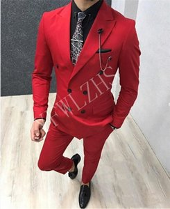 Popular Double-Breasted Groomsmen Peak Lapel Groom Tuxedos Men Suits Wedding Prom Best Man Blazer ( Jacket+Pantst+Tie) Y69