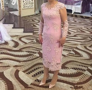New Fashion Pink Mother Of Bride Dresses Long Sleeves Lace Appliques Sheath Tea Length Wedding Guest Dress Formal Plus Size Mother Dress