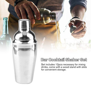 10pcs Stainless Steel Cocktail Shaker Mixer Wine Martini Shaker Set with Wooden Rack for Bartender Drink Party Bar Tools
