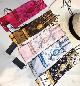 2020 Seidenhaarband silk Dame Bogen Schal Mode Beutel dekoratives Band Schal 120 * 8cm AA01 gedruckt