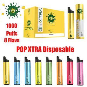 Designer vape POP XTRA descartável Dispositivo Pod Kit 550mAh Battery 3,5 ml Cartuchos 1000 Puffs Anti vazamento Vape Pen esvaziar