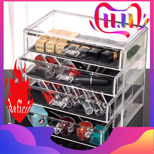 Transparente caja de múltiples capas cajón de almacenamiento cosmética de acrílico de escritorio de la joyería creativa organizador de la caja de almacenaje de maquillaje cosmético