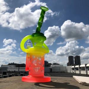 9 polegadas tubo de água de vidro fosco Bong matriz perc dupla reciclador câmara plataforma petrolífera DAB equipamento legal para venda com 14 milímetros de quartzo banger