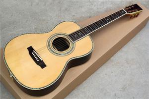 Sólido top 41 '' OM corpo guitarra acústica com osso porca / sela, real colorido pérola inlay, escala de jacarandá, hardware de ouro, pode ser personalizado