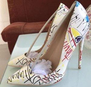 2019 white Doodling Red-soled High-heeled Shoes 여성용 커프 파인 굽 얕은 입 싱글 신발 8cm 10cm 12cm 빅 코드 44 페이턴트 가죽