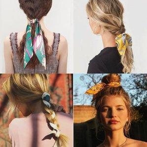 Mulheres Meninas Cadeia Vintage Flor Imprimir Rabo lenço de cabelo Bow Elastic Rope faixas do cabelo da fita Scrunchies Tie