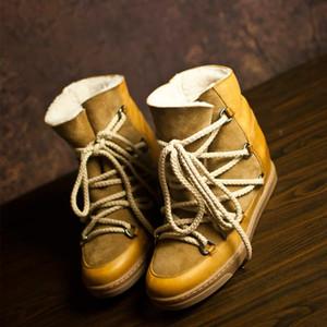 Piel 2Perfect Calidad Isabel Cluster Botas Calle Paris Fashion Marant nuevos zapatos de cuero genuinos Ronda del dedo del pie Botas de diseño de lujo de encaje hasta