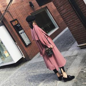 BIUZKO Korean Casual Women Trench Coats and Jackets Elegant Office Lady Designer Windbreaker England Style Fall Overcoat