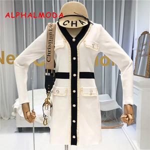 ALPHALMODA Autunno 2019 New French scollo a V e maniche lunghe Vestito da donna pro vita Faux tasca di modo Outfit