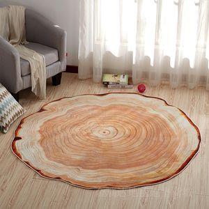 Round Shape Carpet Computer Chair Pad 3D Wood Printing Ring RUG Household Bedroom Living Room Sofa Floor Mat Doormat