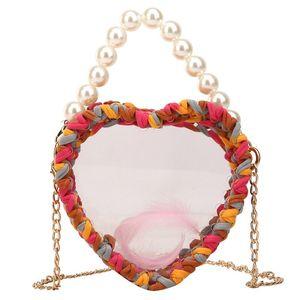 نسج قوس قزح الاكريليك حقيبة اليدوية واضح اللون مطرز CROSSBODY حقيبة بيرل مع السلسلة الذهبية شفاف القلب Shoulderbag