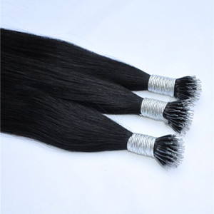Renk 1 Siyah Renk Ipek Düz perulu Nano Yüzük İnsan Saç Uzantıları 0.8g s 200g paketi Fabrika Fiyatları Tüm Renkler Saç Uzantıları