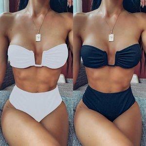 ZTVitality Negro Blanco Bikini 2020 nueva llegada sin respaldo acolchado traje de baño femenino sin tirantes de cintura alta traje de baño atractivo de las mujeres Biquini