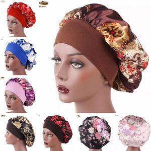 New Fshion femmes satin nuit de sommeil Cap Bonnet Chapeau cheveux soie tête couverture large bande élastique Bonnet de douche