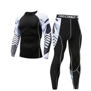 Hot new men's fitness suit winter thermal underwear sports skin tight stretch Rashguard
