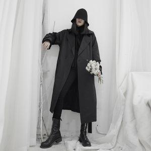 Women Black Long Big Size Trench New Lapel Long Sleeve Loose Fit Windbreaker Fashion Tide Utumn Winter 2020 19-a694