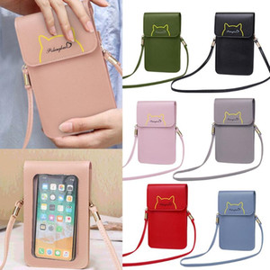 Mini Mobile Phone Bag With Back Side Clear Touching Screen Girl Leather Crossbody Bag Fashion Women Bags Cell Phone Handbag
