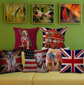 Casos bandeira almofada americanos pet cão Cushion Impressão de capas de linho Sofá Almofadas capas de carro Office Home Decor 7 Designs LQPYW495