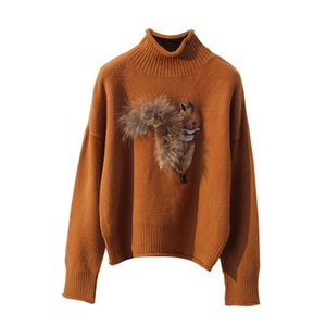 Pull en cachemire femme Pulls hiver et pull-overs Fox avec le Real Fur Tail Pull Femme Manche Longue Noël Sudaderas D361 Y191109