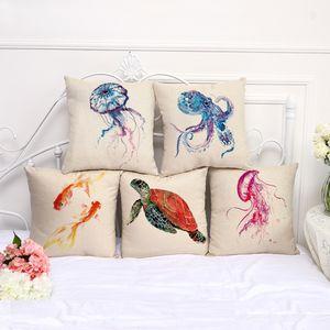 Capas de almofada Octopus tartaruga Golden Fish fronha de algodão Linho Praça Pillowcase Sala Sofá decorativa Lance fronha
