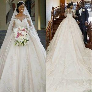 Классические Royal бальное платье Свадебные платья Кристаллы оборками Аппликации Иллюзия Длинные рукава собор Плюс Размер Элегантная королева Свадебные платья