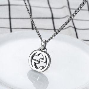 Collar caliente de la venta de lujo G Carta de plata 925 collar de cadena retro Pareja hombres y mujeres colgante de joyería del diseñador del envío libre del regalo