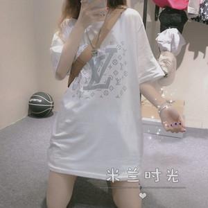 Cotton short sleeved T-shirt for women summer Korean version of the new Instagram trend loose base T-shirt for students versatile half sleev