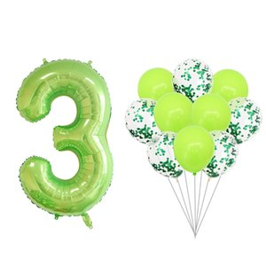 2 11pc 40inch Fruit Green Foil Number Balloons Green Confetti Balloons set Birthday Wedding Party Decor Globo Kids Ball Supplies