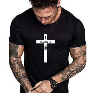 European and American style cross fashion T-shirt Summer thin men's round neck T-shirt short-sleeved Letter T-shirt