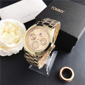 Hot relojes del LED del reloj para hombre de negocios 38MM acero inoxidable de la correa del dial del metal del oro del reloj para mujer de la moda de alta calidad relojes de cuarzo TOM