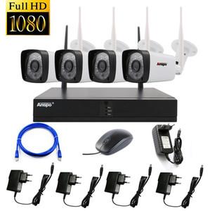 Anspo 1080P Wifi Système de caméra de vidéosurveillance sans fil Système de sécurité de surveillance à domicile étanche Plug and Play P2P NVR