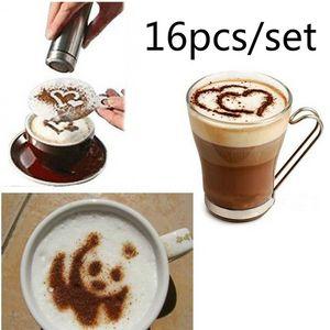 16pcs / set de café Arte de la plantilla Cappuccino Flores Filtro Barista Coffee fabricante de moldes aerosol arte Coffeeware Herramientas de bricolaje HHA1112