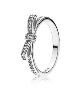 Original 925 Sterling Silver Ring Fine Sparkling Bow With Crystal Rings For Women Wedding Party Gift Fashion Jewelry