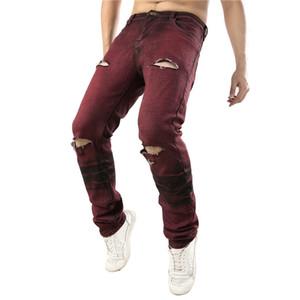 Mens Holes Red gerade dünner Stretch Jeans Modedesigner Männer lange Hosen-Mann Kleidung