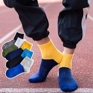 Summer men's color matching sports style cotton mesh breathable medium medium socks simple all-match socks