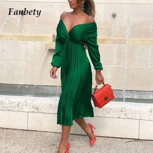 Fanbety Zarif Fit Ve Flare Pileli Saten Elbise Kadınlar 2019 Sonbahar Seksi Kapalı Omuz Uzun Kollu elbise Lady Casual parti
