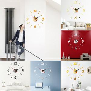 Espejo Decoración grande DIY Número reloj de pared de la etiqueta engomada 3D Modern Home Office Decor Arte de la etiqueta