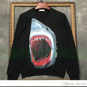18ss Luxury Europe Paris mens Shark head print Pullover Sweatshirt High Quality Fashion Designer Hoodies Women Sweatshirt Streetwear Top