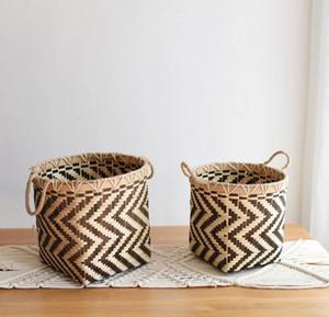 African element bambo sheet storage and finishing black and white geometric flower pot storage backet storage flower b