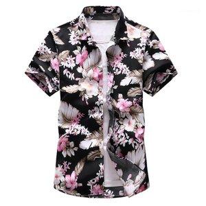 Slim vacances d'été style manches courtes pour hommes T-shirts 7XL Oversize Floral Mens Designer Neck Cardigan Polos Lapel