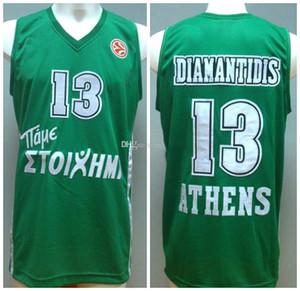 Dimitis Dimantidis # 13 Ретро Джерси Балонцесто Европа Ретро Баскетбольные майки Мужские сшитые пользовательские любое имя