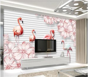 WDBH 3d wallpaper custom photo 3D flamingo flower TV background wall painting paper 3d large size Home decor muals wall paper for walls 3 d
