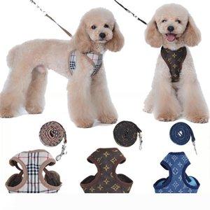 Дизайнеры Pet Шлейки Поводки Мода Письмо Вышивка Милый Плюшевый Щенок Маленькая Собака Поставляет Личность Pet Поводок Ошейник