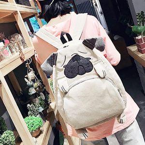 Симпатичный мультфильм Рюкзак Собака уха Девушка Schoolbag Для подростковый Женщины Back Pack Холст животных Форма Школа Рюкзак Famale подросток Bagpack