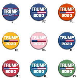 Donald Trump Broche Pins 2020 Amérique du Président Election Metal Badges Armband Broches rondes pour Coat Party Decoration Favor GGA3450-3