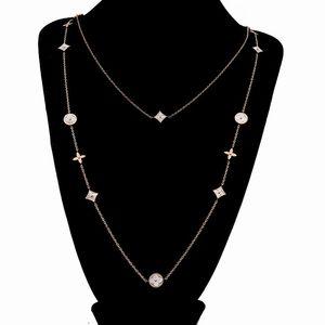 Collar largo de las mujeres de las cadenas de la madre perla del trébol del encanto del suéter Collares regalo de San Valentín partido de la mujer de la vendimia 90cm joyería