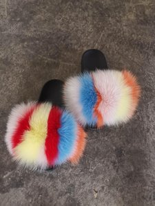ABD Gökkuşağı Tarzı Fox Kürk Slaytlar Herhangi Renk Karışık Kürk Terlik Doğal Gerçek Kürk