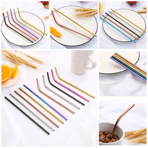 20 styles 304 stainless straws reusable beverage coffee milk straws curved rainbow colored metal straws T3I5691